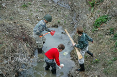Looking for Frogs. Three brothers look for frogs together in a stream Stock Photo