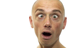 Looking Funny. This man looks funny and cross-eyed. It's a caricature like emotion picture royalty free stock photography