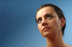 Looking into the future. Thinking woman, serious Stock Image