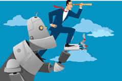 Looking into the future. Giant robot holding a businessman with a telescope, helping him to look further ahead, EPS 8 vector illustration Royalty Free Stock Photos