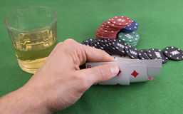 Looking game of poker cards Stock Images