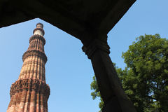 Looking through gate qutub minar with tree Royalty Free Stock Image