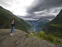 Looking at Geirangerfjord Royalty Free Stock Photos