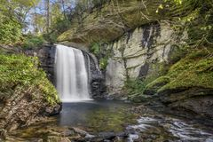 Looking Glass Falls. Is a scenic 60 foot waterfall in western North Carolina. Seen here in autumn stock image