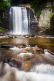 Looking Glass Falls, in Pisgah National Forest, North Carolina. Stock Photos