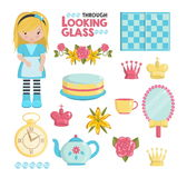 Through the looking glass illustrations set Royalty Free Stock Photo