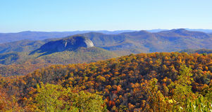 Looking Glass Rock in autumn. Autumn view of Looking Glass Rock in the Blue Ridge Mountains section of the Appalachian Mountains range royalty free stock image