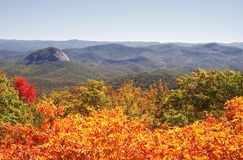 Looking Glass Rock. With orange fall foliage off the Blue Ridge Parkway stock image