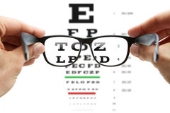 Looking through the glasses at eye chart Stock Photos