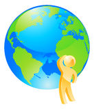 Looking at globe thinking concept Royalty Free Stock Photo