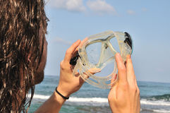 Looking through the goggles for diving Stock Photography