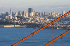 Looking through the Golden Gate. The Golden Gate bridge frames a view of San Francisco in the distance Stock Photos