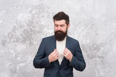 Looking good. elegant man with beard. Brutal bearded hipster in formal suit. Tailor or fashion designer. Modern life royalty free stock photos