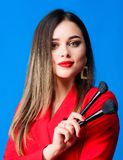 Looking good and feeling confident. Gorgeous lady makeup red lips. Attractive woman applying makeup brush. Strengthen. Confidence with bright makeup. Perfect stock photos