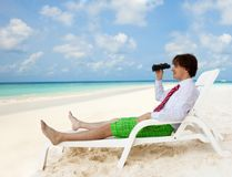 Looking for good vacation options Stock Photo