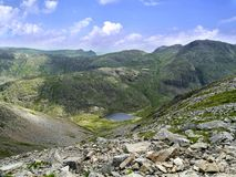 Looking from Great Gable to Styhead Tarn way, Lake District Royalty Free Stock Photos
