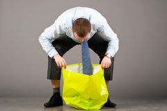 Looking into green bag Stock Photography