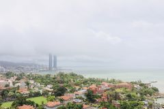 Twin Towers Hotel of Xiamen in the clouds stock images