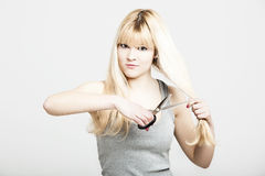 Looking for a hair cut change Stock Photography