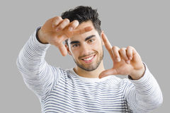 Looking through hands Royalty Free Stock Image