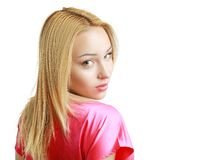 Looking her shoulder Royalty Free Stock Images