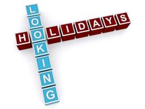Looking, holidays spelled in blocks Stock Photo