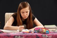 Looking at Homework Royalty Free Stock Photos
