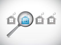 Looking for a house. magnify illustration Stock Images