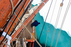 Looking at ice on tallship or sailboat Royalty Free Stock Photo