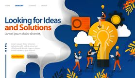 Looking for ideas and solutions to problems, brainstorming for ideas vector illustration concept can be use for, landing page, tem vector illustration