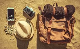 Looking image of travelling concept, essential vacation items. royalty free stock images