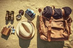 Looking image of travelling concept, essential vacation items. stock image