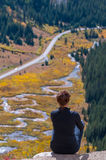 Looking at Independence Pass Colorado stock photography