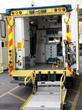 The interior of an NHS ambulance. Looking inside a NHS ambulance waiting for a patient outside a hospital in Poole, Dorset UK Stock Images