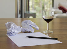 Looking for inspiration. With glass of wine Stock Photography