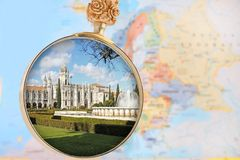 Looking in Jeronimos Monastery. Looking in on the Mosteiro dos Jeronimos a monastery in Belem, Lisbon, Portugal with a Europe map in the background stock photography