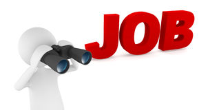 Looking for job. Concept depicting 3D man looking for job with the help of binoculars Royalty Free Stock Photos