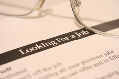 Looking for a job. Close up of job application Royalty Free Stock Photo