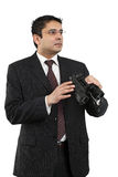 Looking for a job. An attractive Indian businessman in his late thirties, either searching for a job, looking for employees, or looking to the future Stock Photography