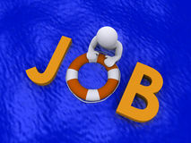 Looking for job in the sea of unemployment. 3d person in the sea holding job letters Royalty Free Stock Images