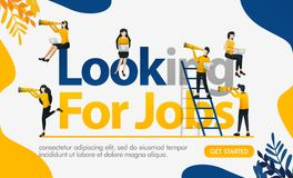 Looking for Jobs words with lots of people wearing binoculars to get a chance, concept vector ilustration. can use for landing pag. E, template, ui, web, mobile royalty free illustration