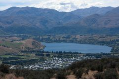 Looking at a lake from the Remarkables near Queenstown in New Zealand royalty free stock image