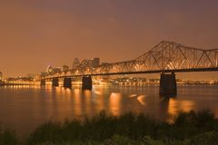 Looking at Louisville at night royalty free stock photo