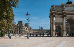 Looking into the Louvre courtyard on a sunny August day Stock Images