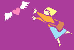 Looking for Love. Woman chases after an image of love depicted as a winged heart Stock Photography