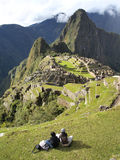 Looking at the Machu Picchu stock photo