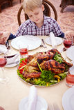 Looking at main course Stock Images