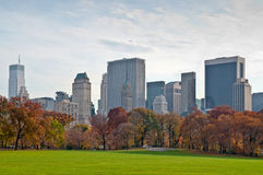 Looking at Manhattan from Central Park. View to the lawn in Central Park with a backdrop of the New York City Royalty Free Stock Image