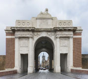 Looking through the Menin Gate in Ypres, Belgium. Royalty Free Stock Images