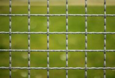 Looking Through Metal Fence Stock Photo